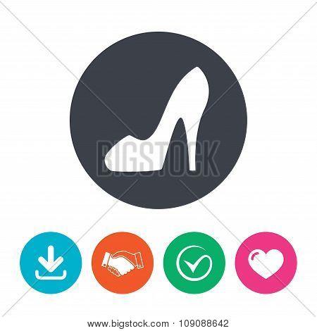 Women's shoe sign icon. High heels shoe.