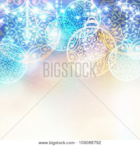 Christmas Laced Balls With Lights Bokeh. Vector Winter Magic Background. Ice Frosty Pattern