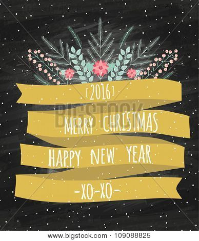 Vector Merry Christmas And Happy New Year 2016 Card With Gold Ribbon. Pattern Of Floral Frozen Eleme
