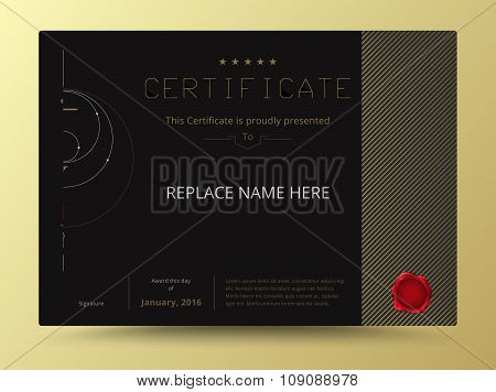 Elegant Diploma Certificate Template Design With International Print Scale. Vector Illustration.
