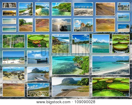 Mauritius aerial view collage