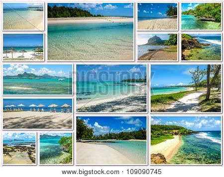 Mauritius tropical beaches collage