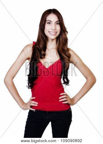 Skinny Hispanic Woman Smiling With Arms Akimbo