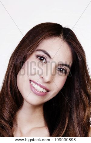 Portrait Smiling Latina Woman With Head Tilted