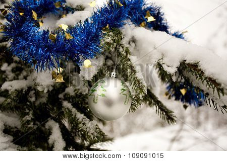 Christmas Tree Decorations - Silver Ball And Blue Tinsel