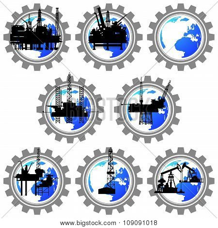 Badges with drilling rigs and oil pumps-1