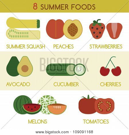 Eight summer foods and vegetables vector
