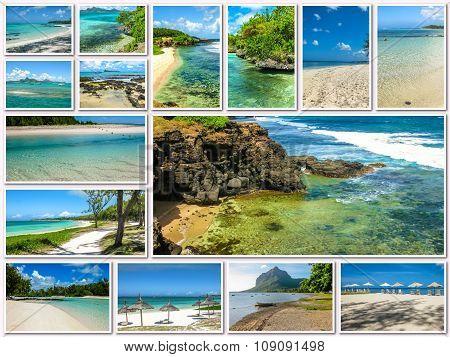 Mauritius aerial view collage