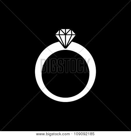 The ring icon. Diamond and jewelry, wedding symbol. Flat