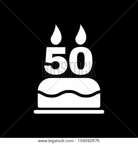 The birthday cake with candles in the form of number 50 icon. Birthday symbol. Flat