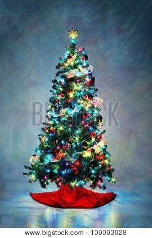 Decorated Christmas tree with colorful lights