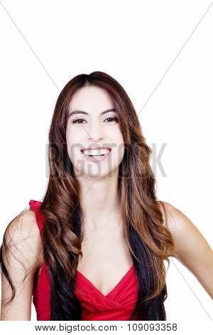Skinny Hispanic Woman Smiling Portrait Red Top