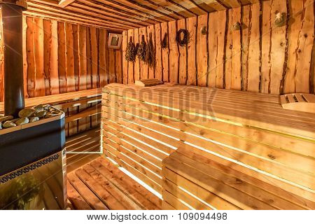 Large standard-design classic wooden sauna interior