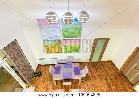 Fantastic contemporary livingroom home interior. Dining room. Hu