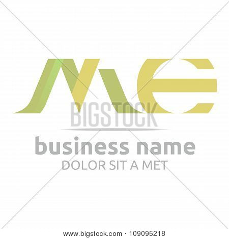 Logo letter M combination E lettemark design vector