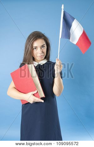 Girl With A Book And A French Flag..