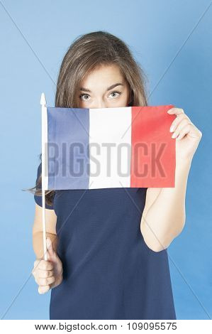 Girl Looks Out Of The French Flag.