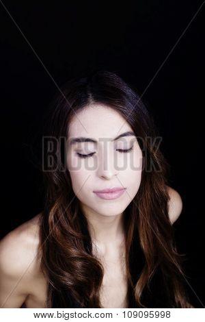 Bare Shoulder Portrait Latina Woman Eyes Closed