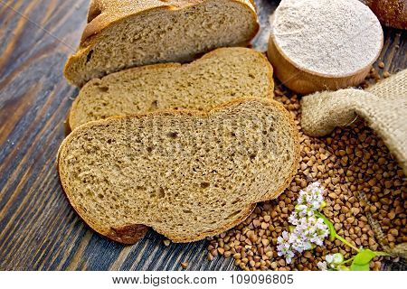Bread Buckwheat With Groats And Flower On Board