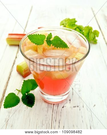 Lemonade With Rhubarb And Mint On Board