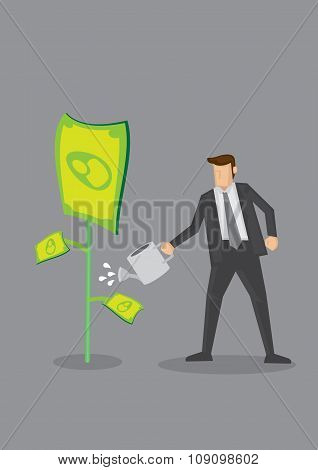 Businessman Growing Money Conceptual Vector Illustration