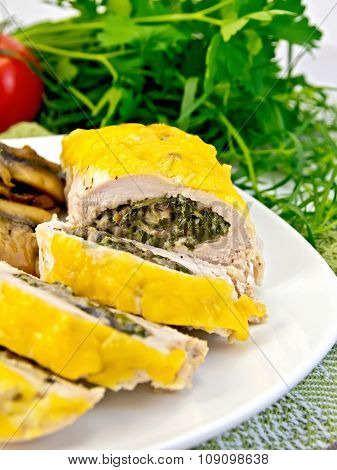 Roll Chicken With Champignons And Spinach On Board
