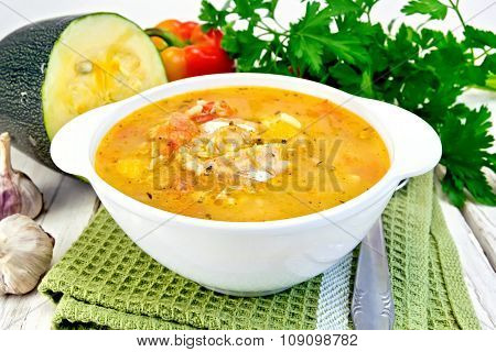 Soup Fish With Zucchini And Peppers On Board