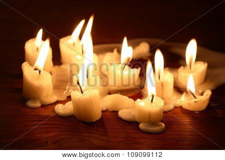 Candles On Wood