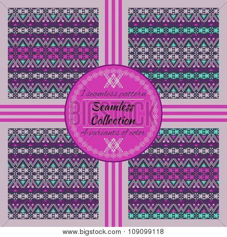Ethnic Tribal Geometric Pattern. 4 Variants Of Color With Swatches Inside