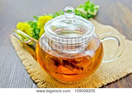 Tea Of Rhodiola Rosea In Glass Teapot On Sacking