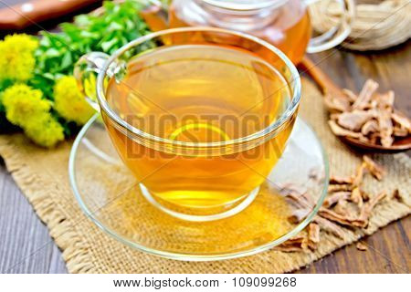 Tea Of Rhodiola Rosea In Glass Cup On Sacking