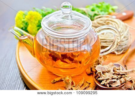 Tea Of Rhodiola Rosea In Glass Teapot On Tray With Spoon