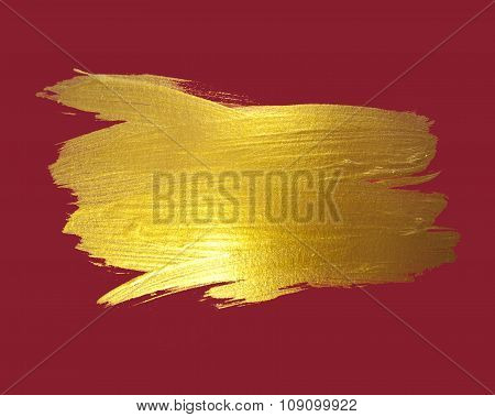 Gold watercolor texture paint stain abstract illustration red background. Shining brush stroke for y