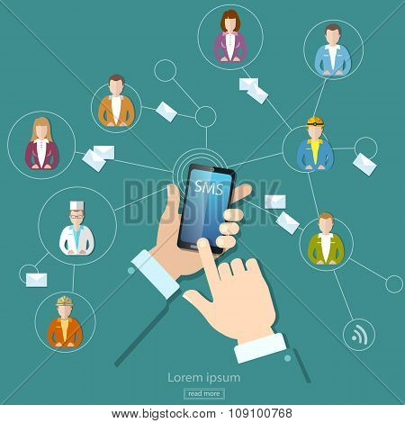 Social Network Concept People Communication Touch Screen Mobile