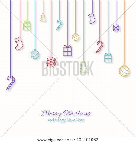 Flat Christmas Greeting Card.