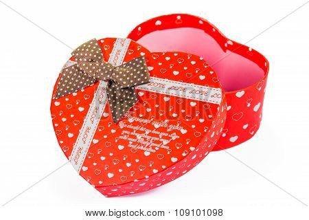 Heart Shaped Valentines Day Gift Box, Isolated On White