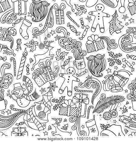 Seamless Doodles Christmas Pattern.