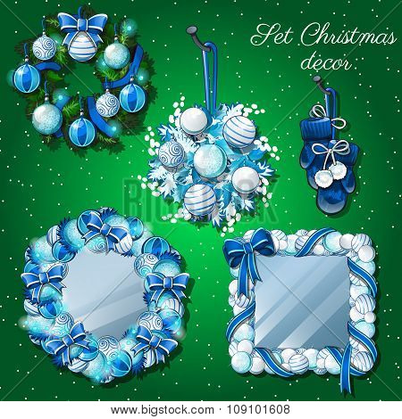 Christmas decoration, mirror and a wreath, mittens