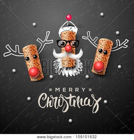 Christmas characters, Santa Claus and reindeer