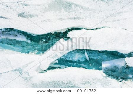 Blue Ice On The Frozen Lake