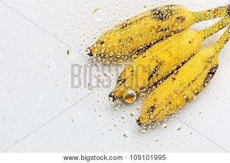 Water Drops Of Banana Background