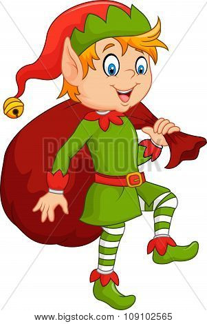 Cartoon cute elf with sack
