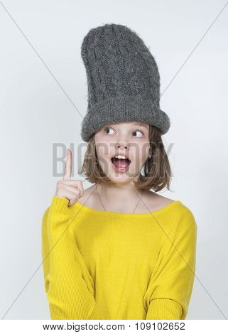 Ten-year Girl In A Funny Hat..