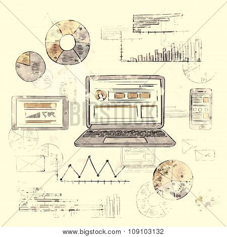 Sketch Laptop Smart Phone Tablet Finance Chart Old Retro Diagram Grunge Paper Background Vintage Gra