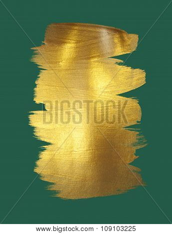 Gold watercolor texture paint stain abstract illustration. Shining brush stroke for you amazing Merr