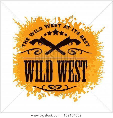 Wild west, vintage vector artwork for boy wear, on grunge background