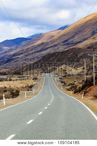 Beautiful Landscape Of Mountain Highways In South Island New Zealand Vertical Form