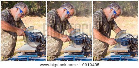 Man Using a Chop Saw