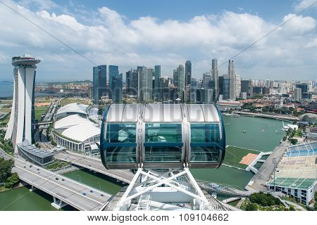 Aerial View Of Singapore City With Nice Sky