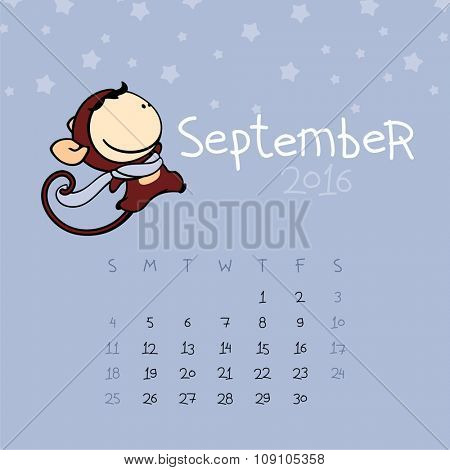 Calendar for the year 2016 - September